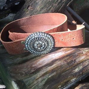 Fossil embossed leather belt